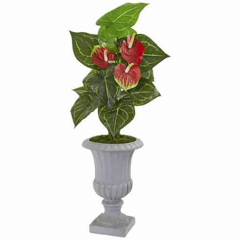 "37"" Anthurium Artificial Plant in Decorative Urn (Real Touch)"