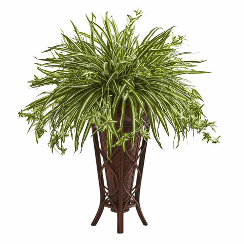 "37"" Spider Artificial Plant in Decorative Stand Planter"