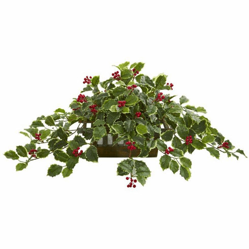 """37"""" Variegated Holly Leaf Artificial Plant in Planter (Real Touch)"""