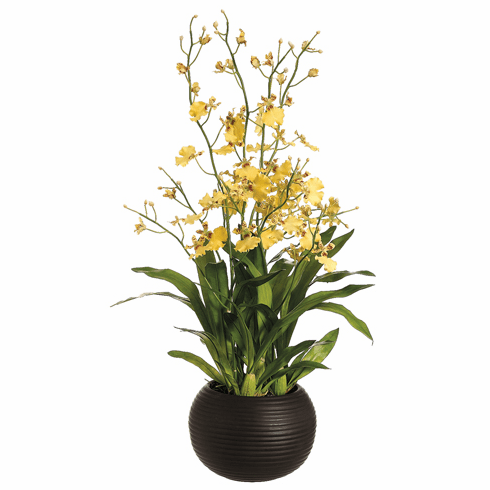 "38"" Artificial Silk Dancing Orchid Plant in Sphere Vase"