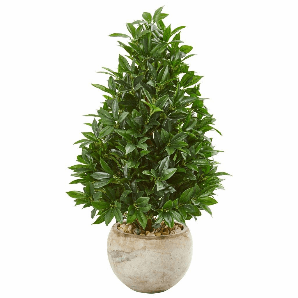 38� Bay Leaf Cone Topiary Artificial Tree in Bowl Planter UV Resistant (Indoor/Outdoor)