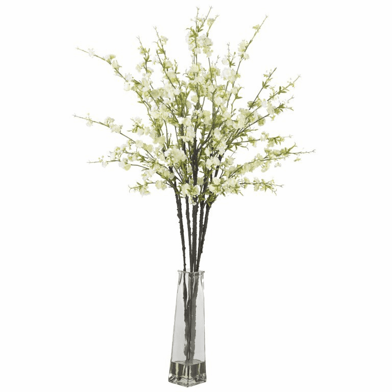 "38"" Cherry Blossoms with Vase Silk Flower Arrangement"