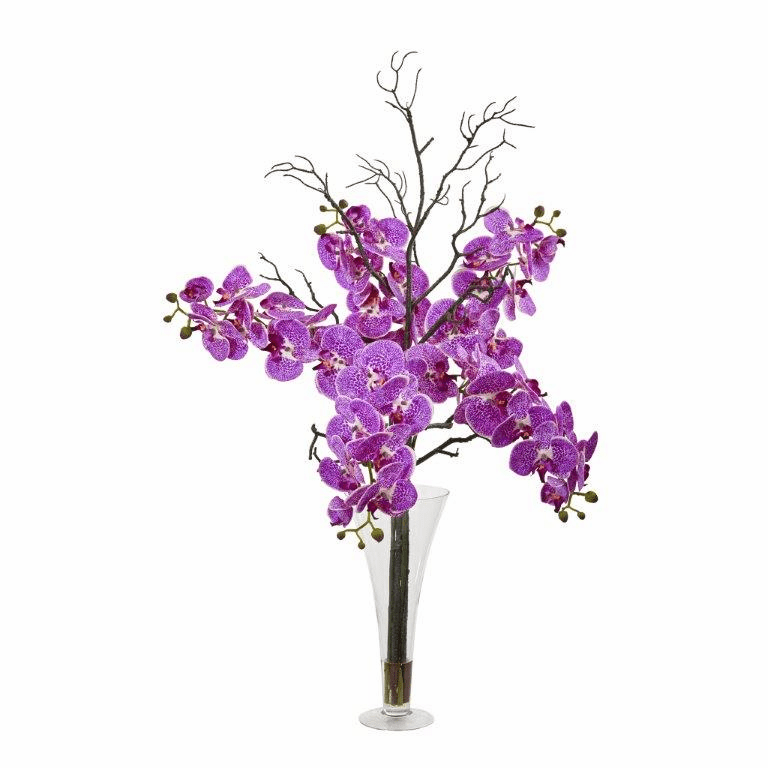 38� Elegant Phalaenopsis Orchid Artificial Arrangement in Flared Vase - Purple Cream