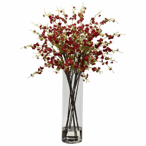"38"" Giant Artificial Cherry Blossom Flower Arrangement in Vase - Red"