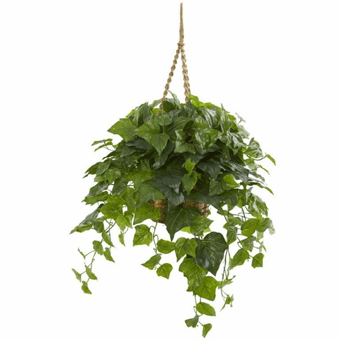"38"" London Ivy Artificial Plant in Hanging Basket (Real Touch)"