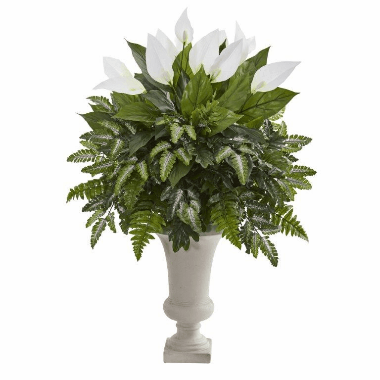 "38"" Mixed Spathifyllum Artificial Plant in White Urn"