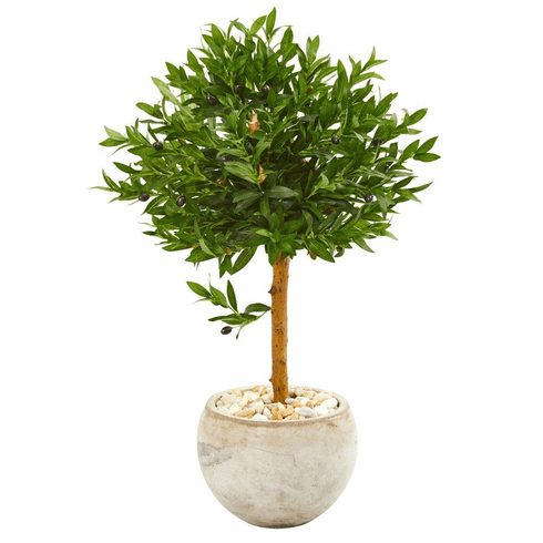 "38"" Olive Topiary Artificial Tree in Bowl Planter UV Resistant (Indoor/Outdoor)"
