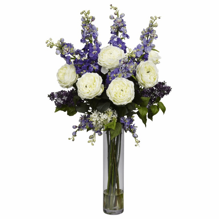 "38"" Rose, Delphinium and Lilac Silk Flower Arrangement"