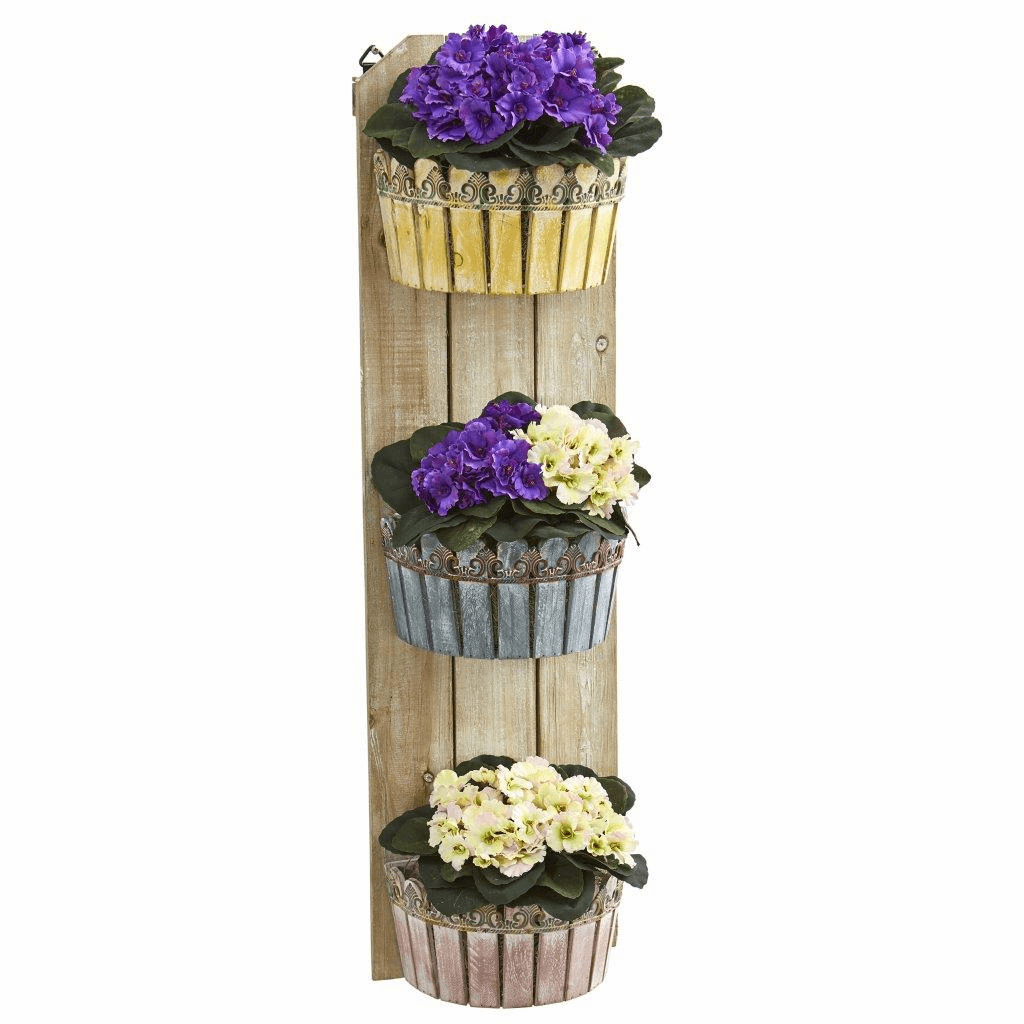 39� African Violet Artificial Plant in Three-Tiered Wall Decor Planter