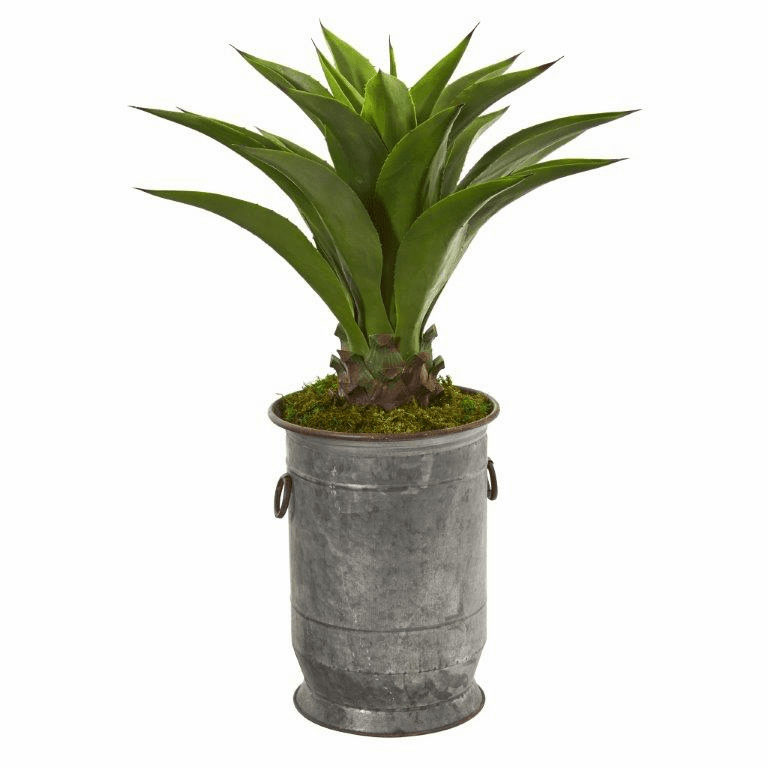 39� Agave Artificial Plant in Metal Planter