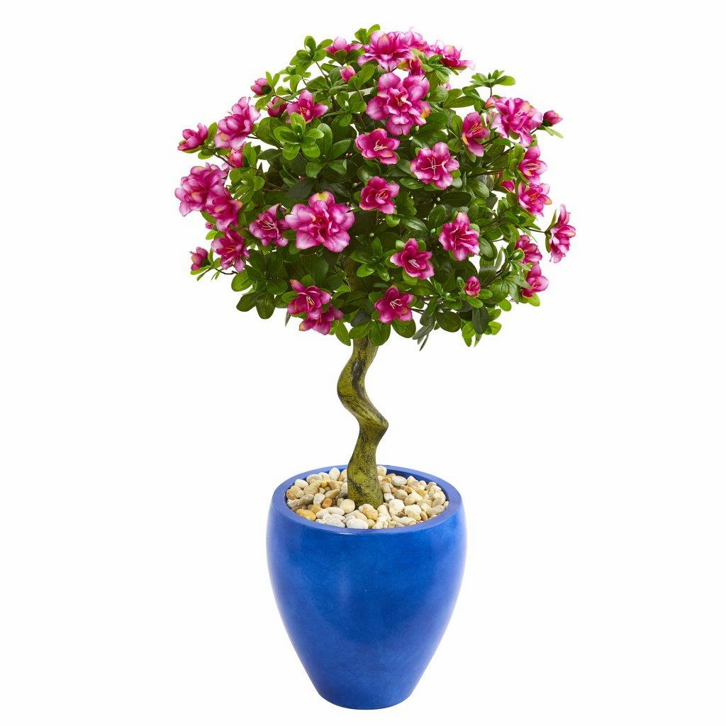 39� Azalea Artificial Topiary Tree in Blue Planter