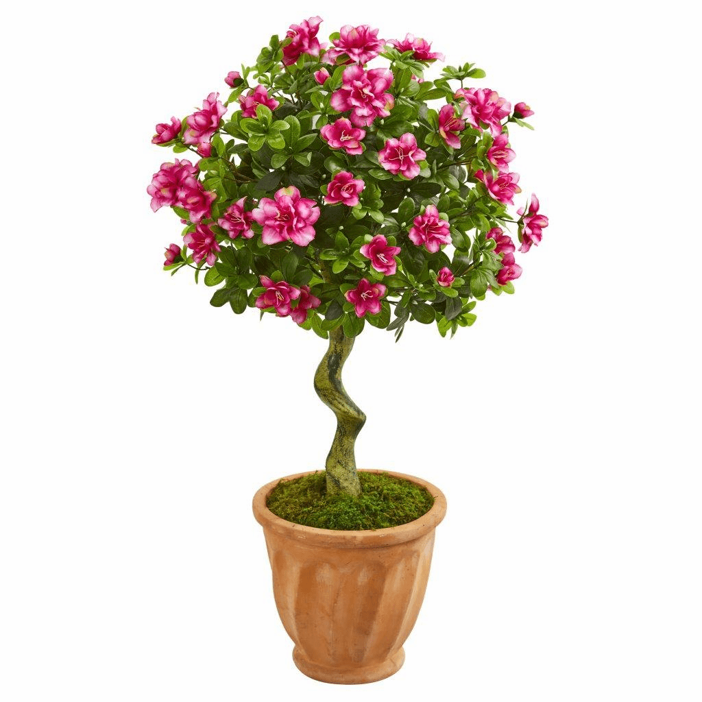 39� Azalea Artificial Topiary Tree in Terra Cotta Planter