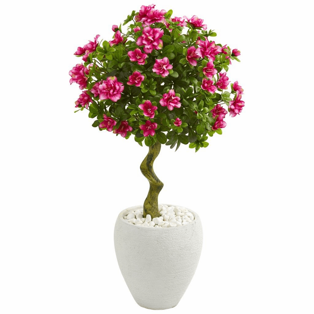 39� Azalea Artificial Topiary Tree in White Planter