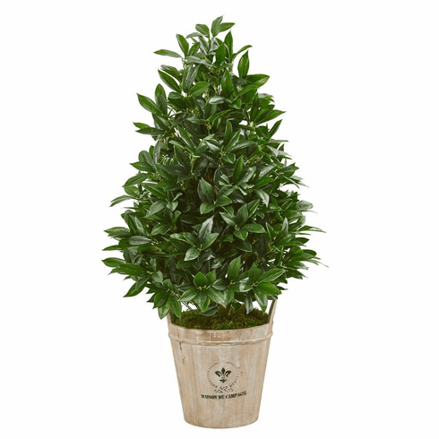 "39"" Bay Leaf Cone Topiary Artificial Tree in Farmhouse Planter"