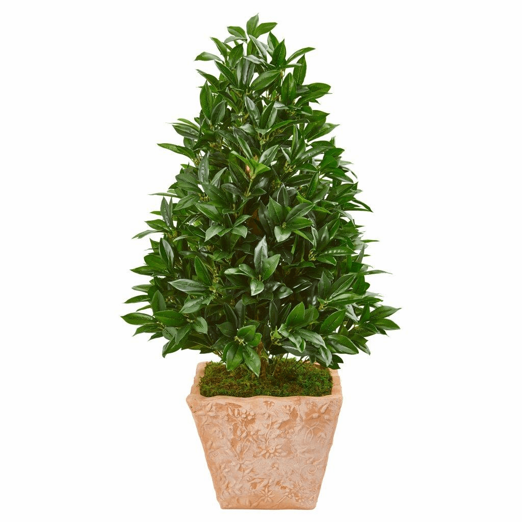 39� Bay Leaf Cone Topiary Artificial Tree in Terra Cotta Planter UV Resistant (Indoor/Outdoor)