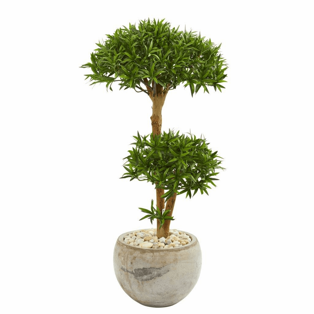 39� Bonsai Styled Podocarpus Artificial Tree in Bowl Planter
