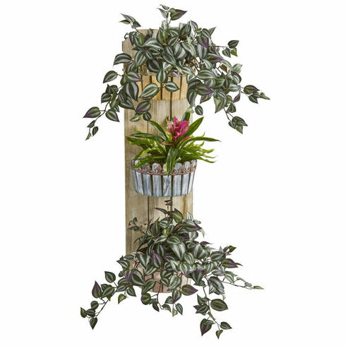 """39"""" Bromeliad and Wandering Jew Artificial Plant in Three-Tiered Wall Decor Planter"""