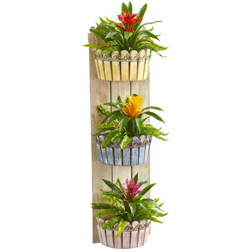 39� Bromeliad Artificial Plant in Three-Tiered Wall Decor Planter