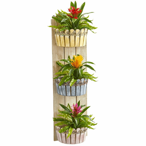 """39"""" Bromeliad Artificial Plant in Three-Tiered Wall Decor Planter"""