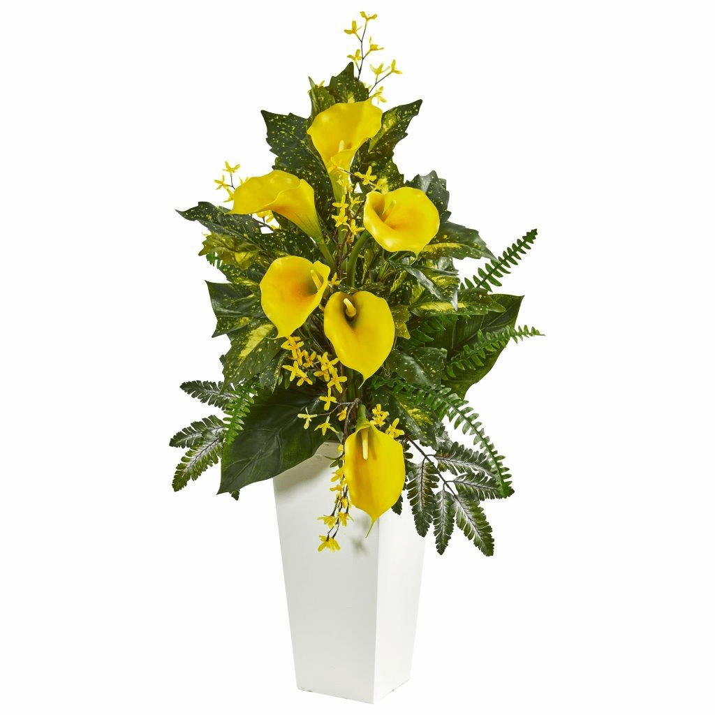 39� Calla Lily, Forsythia and Mixed Greens Artificial Arrangement