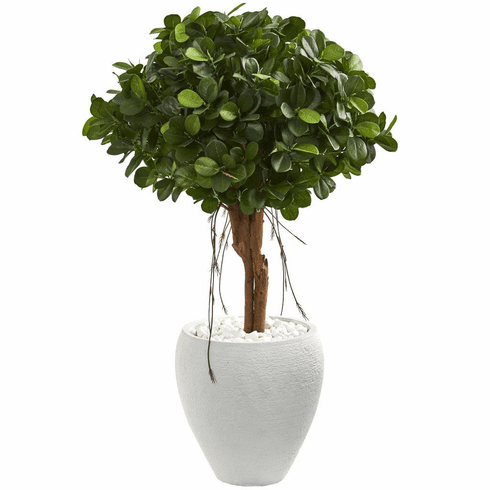"39"" Ficus Artificial Tree in White Planter"