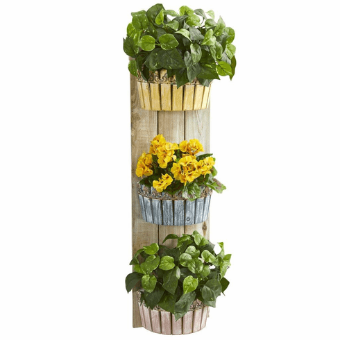 "39"" Geranium and Pothos Artificial Plant in Three-Tiered Wall Decor Planter"