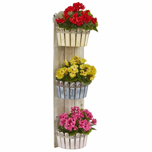 "39"" Geranium Artificial Plant in Three-Tiered Wall Decor Planter UV Resistant (Indoor/Outdoor)"