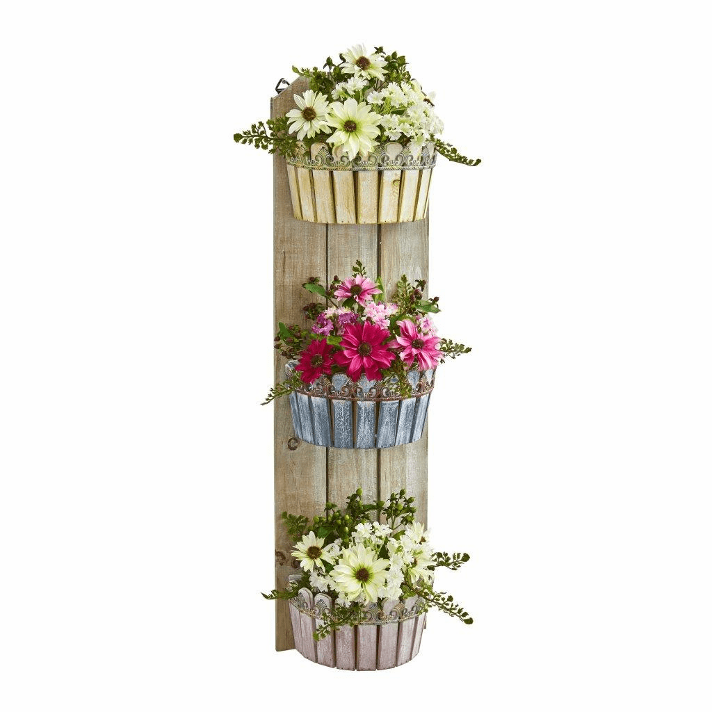 39� Mixed Daisy Artificial Plant in Three-Tiered Wall Decor Planter