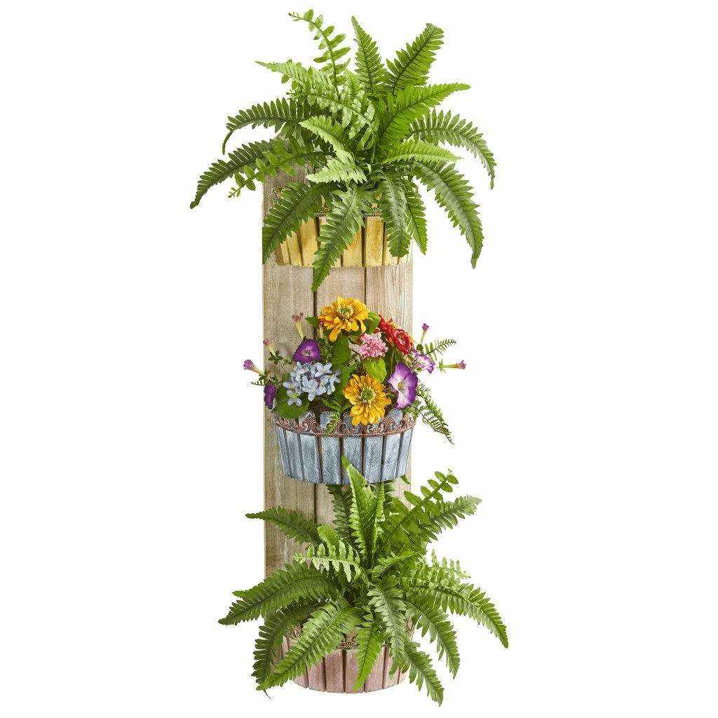 39� Mixed Floral & Fern Artificial Plant in Three-Tiered Wall Decor Planter