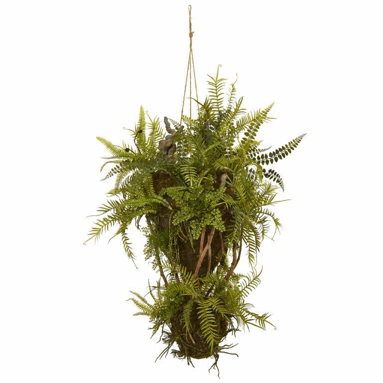 39� Mixed Forest Foliage and Fern Artificial Hanging Plant