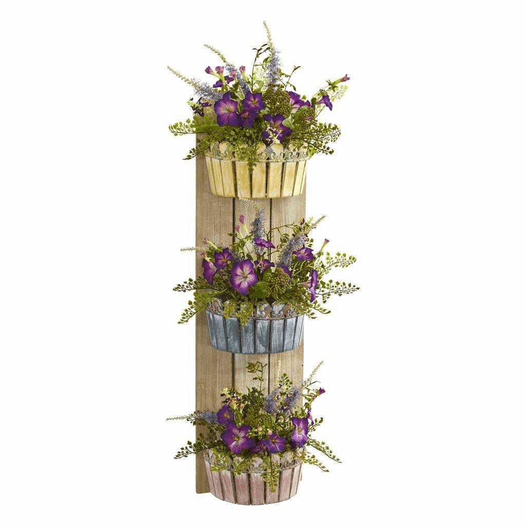 39� Morning Glory Artificial Arrangement in Three-Tiered Wall Decor Planter