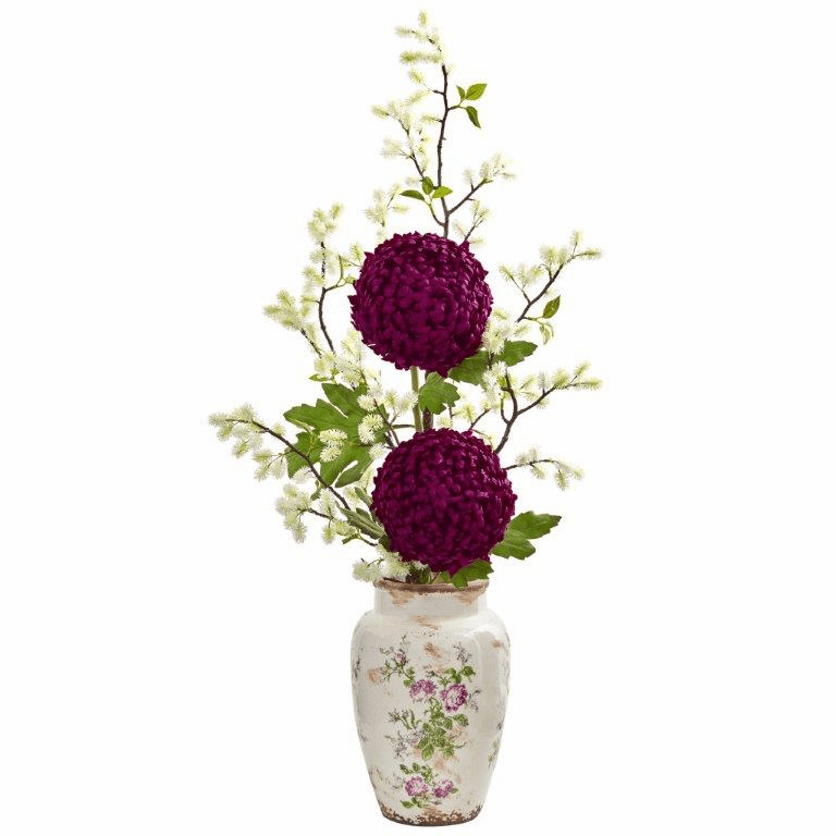 39� Mum and Thistle Artificial Arrangement in Floral Vase