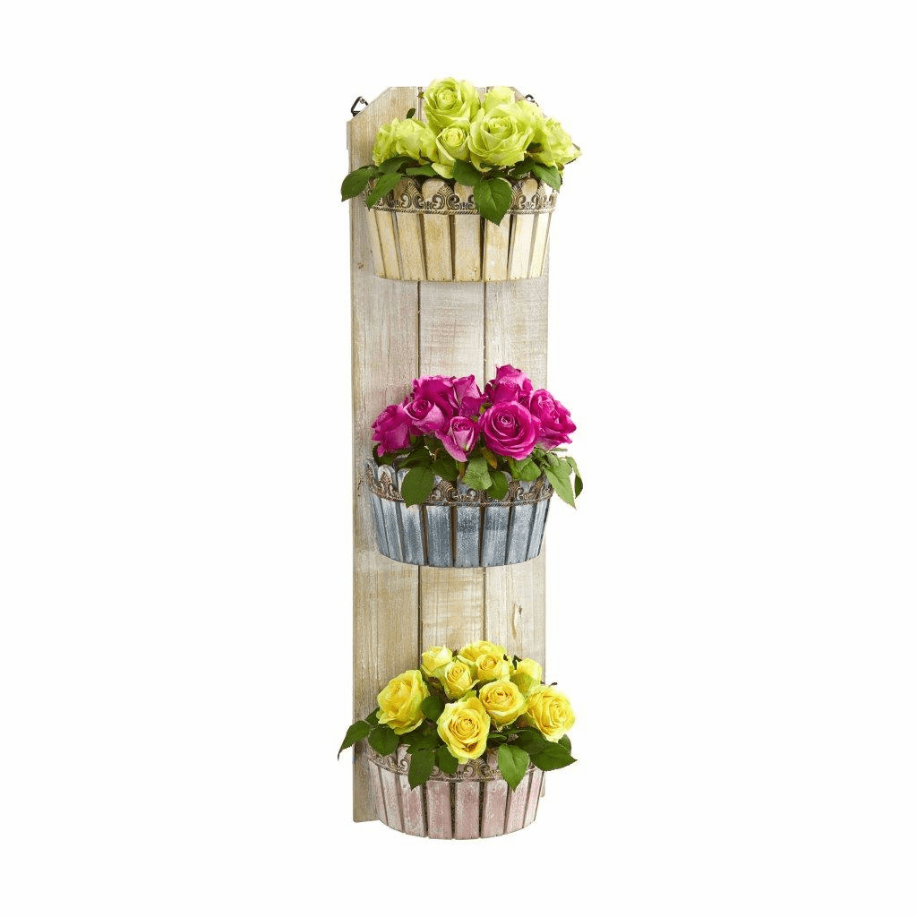 39� Rose Artificial Arrangement in Three-Tiered Wall Decor Planter