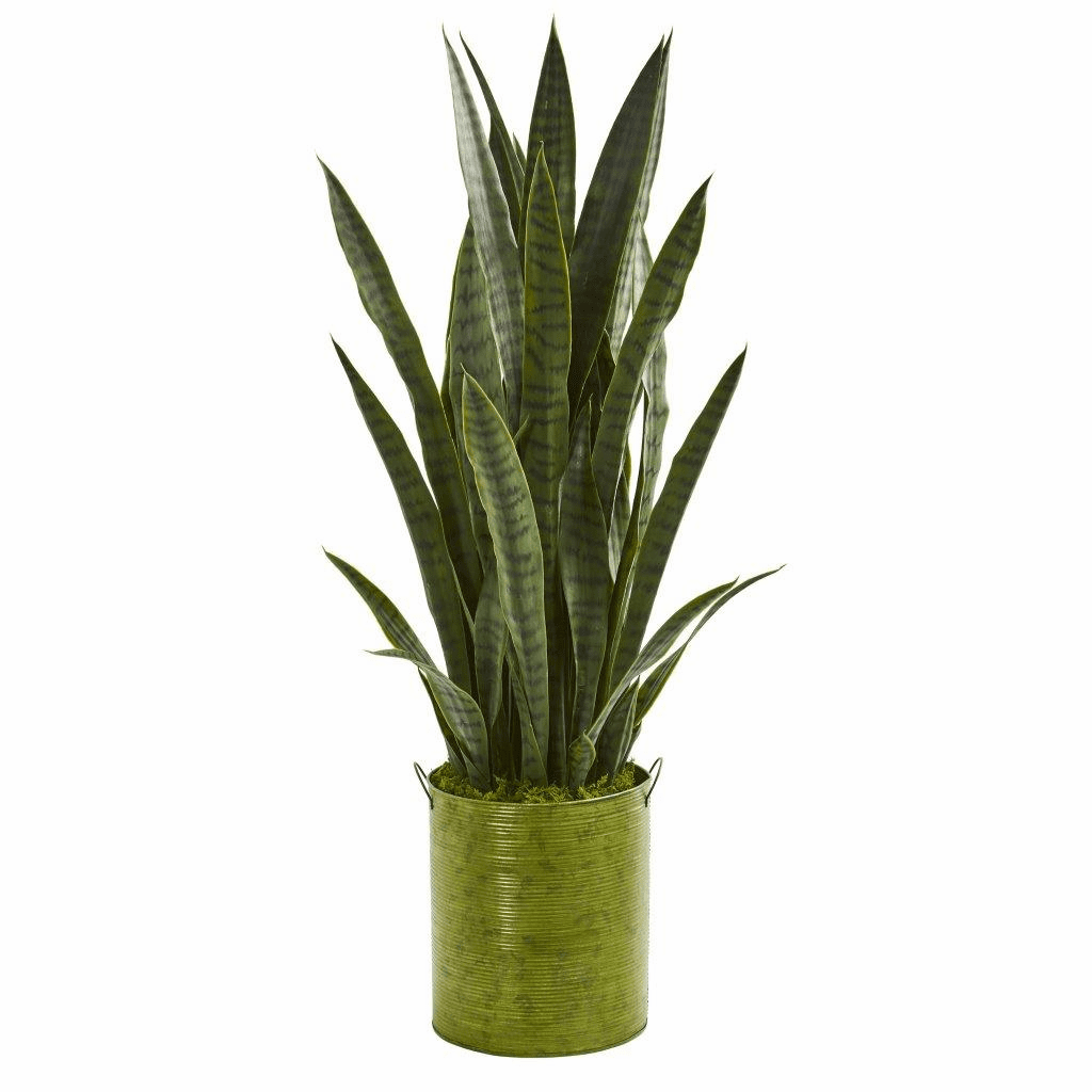 39� Sansevieria Artificial Plant in Metal Planter