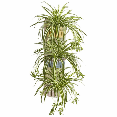 "39"" Spider Artificial Plant in Three-Tiered Wall Decor Planter"