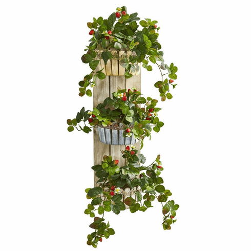 """39"""" Strawberry Artificial Plant in Three-Tiered Wall Decor Planter"""