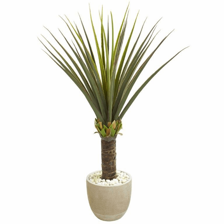 4.5' Agave Artificial Plant in Sandstone Planter