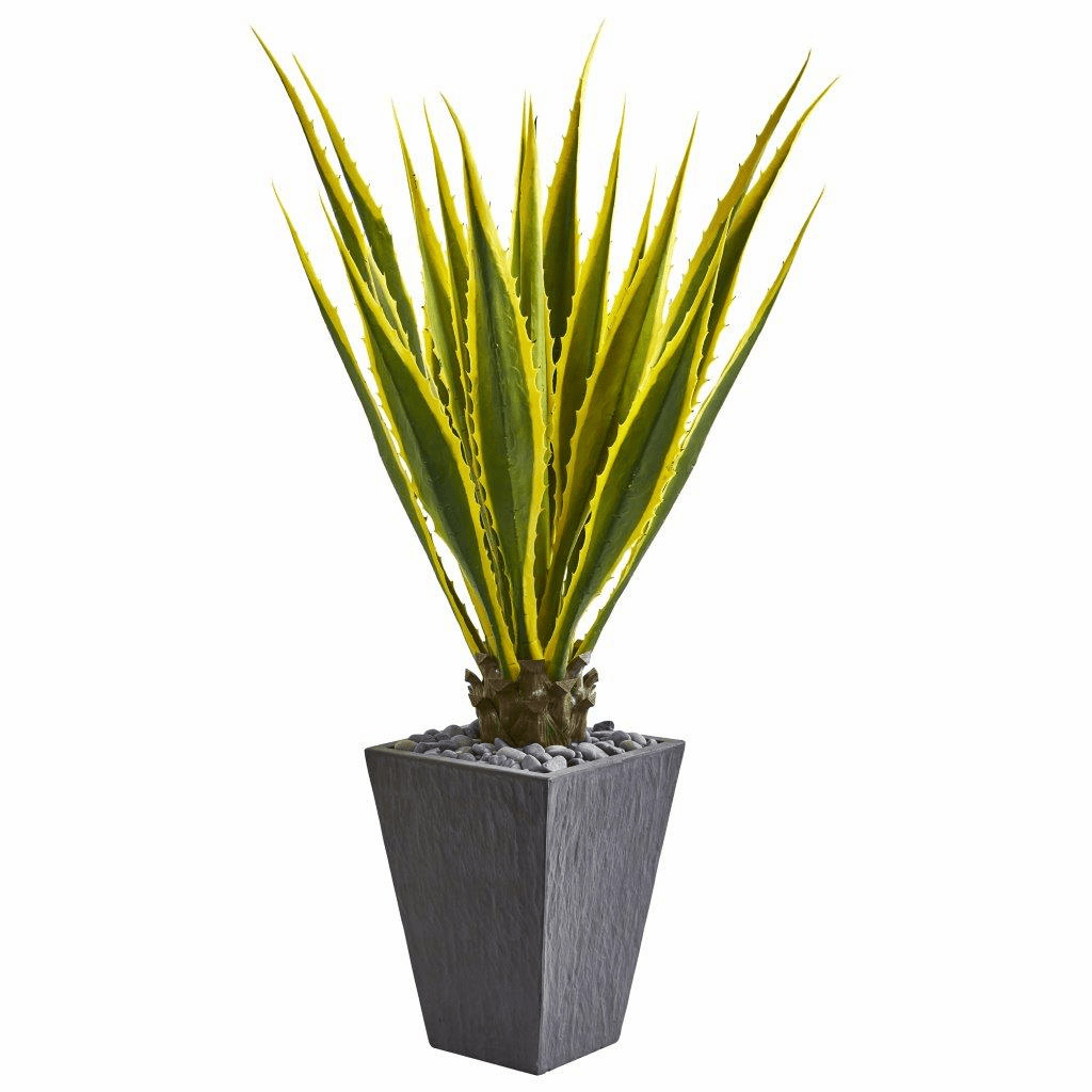 4.5� Agave Artificial Plant in Slate Planter
