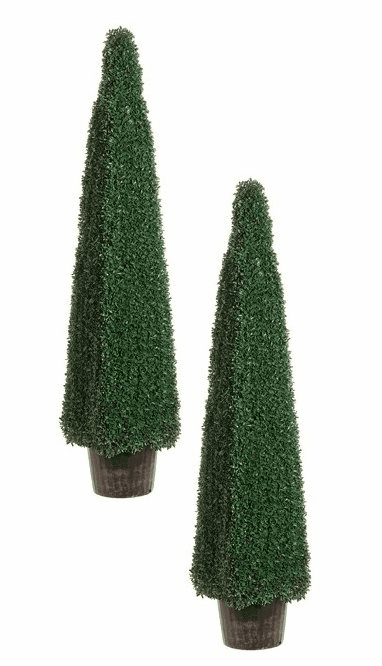 4.5' Artificial Boxwood ConeTopiaries - Set of 2