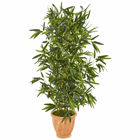 4.5' Bamboo Artificial Tree in Terra Cotta Planter (Real Touch) UV Resistant (Indoor/Outdoor)