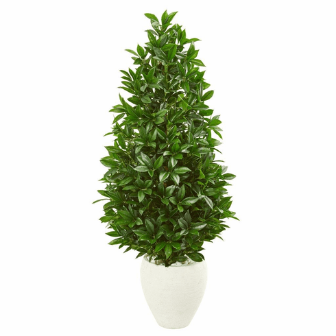 4.5' Bay Leaf Cone Topiary Artificial Tree UV Resistant in White Planter (Indoor/Outdoor)