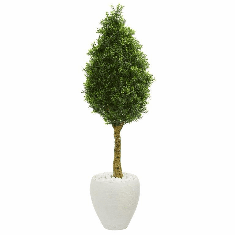 4.5� Boxwood Cone Topiary Artificial Tree in White Oval Planter UV Resistant (Indoor/Outdoor)