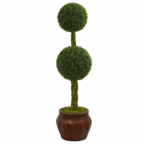 4.5' Boxwood Double Topiary Artificial Tree in Decorative Planter