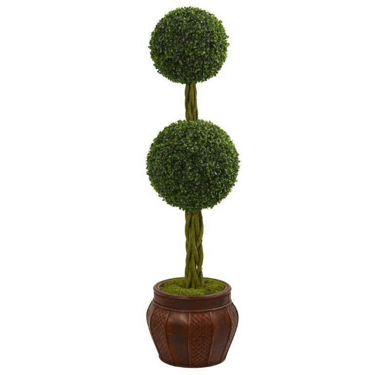 4.5� Boxwood Double Topiary Artificial Tree in Decorative Planter