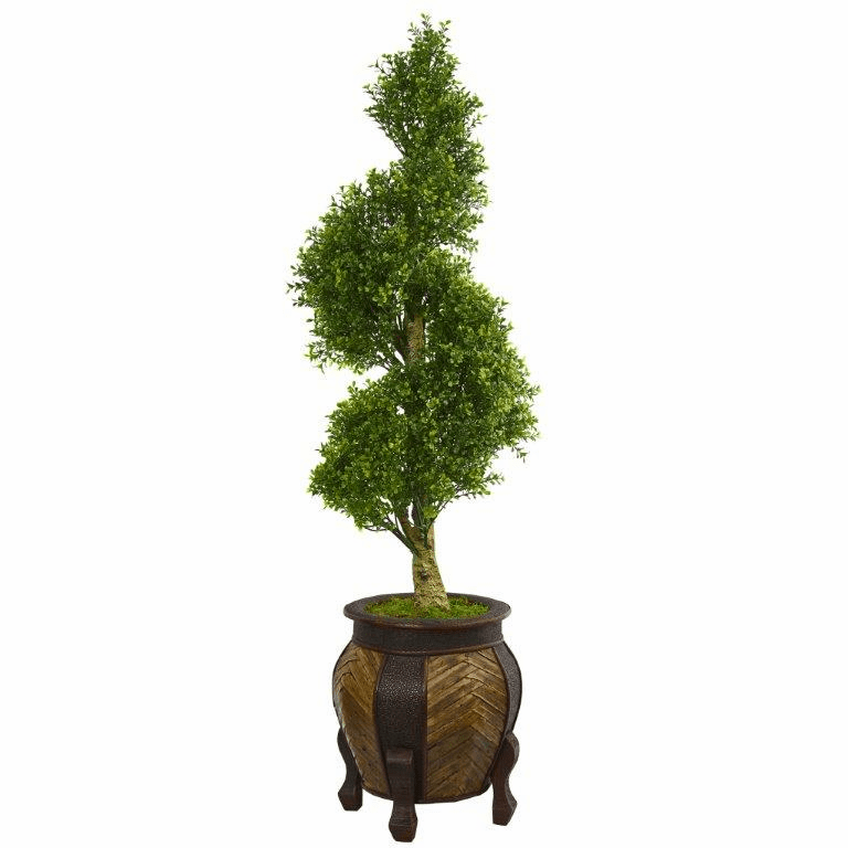 4.5� Boxwood Spiral Topiary Artificial Tree in Decorative Planter