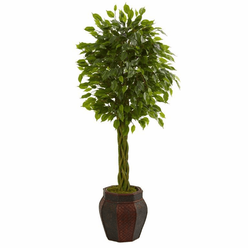 4.5' Braided Ficus Artificial Tree in Decorative Planter  -
