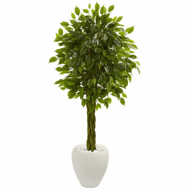 4.5� Braided Ficus Artificial Tree in White Planter UV Resistant (Indoor/Outdoor)