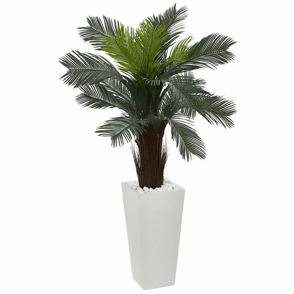 4.5� Cycas Artificial Plant in White Tower Planter