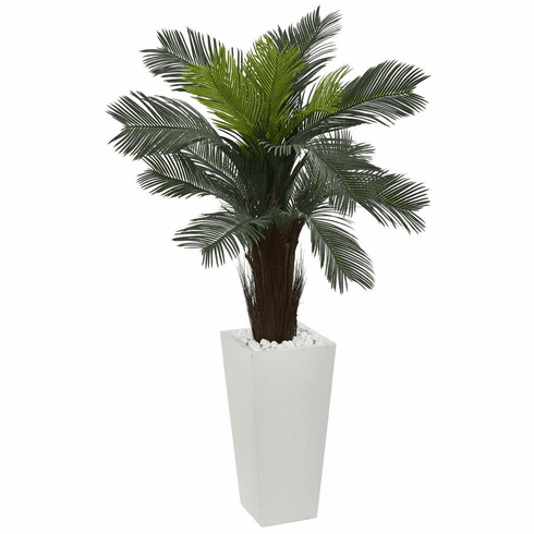 4.5' Cycas Artificial Plant in White Tower Planter