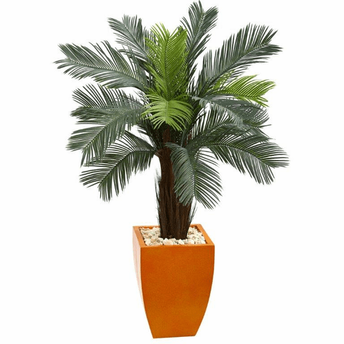 4.5' Cycas Artificial Tree in Orange Planter UV Resistant (Indoor/Outdoor)